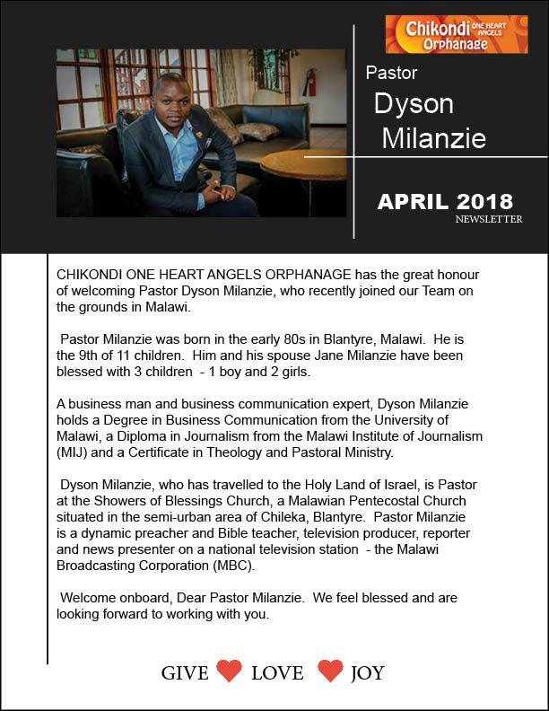 Newsletter April 2018 | Chikondi Orphanage